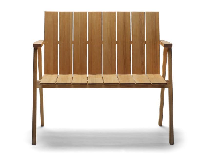 Stackable oak garden bench with armrests ARKIPELAGO KVTT2 by Nikari