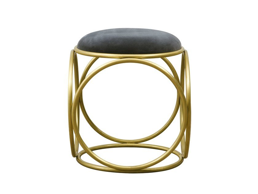 Low upholstered stool BRASS RINGS | Upholstered stool by Hamilton Conte Paris