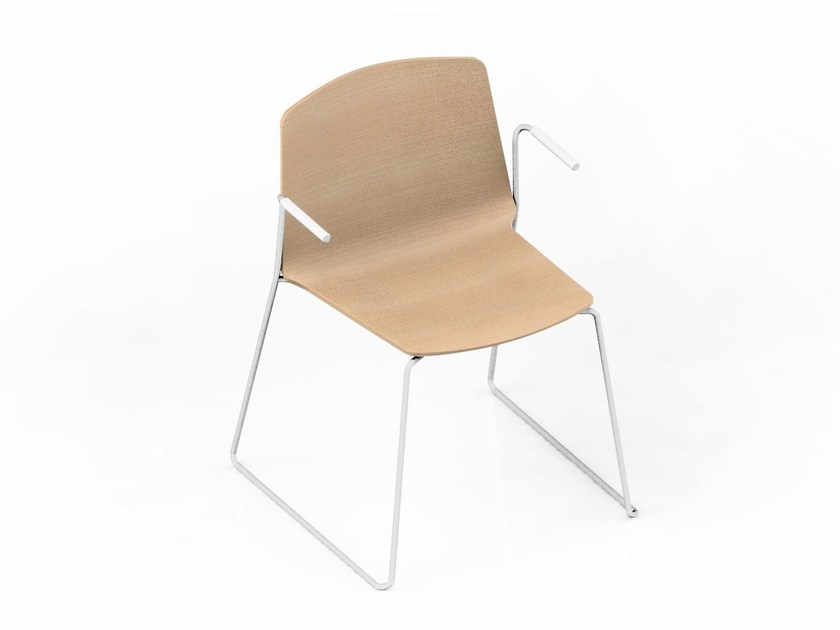 Sled base stackable chair with armrests RAMA | Waiting room chair with Armrests by Kristalia