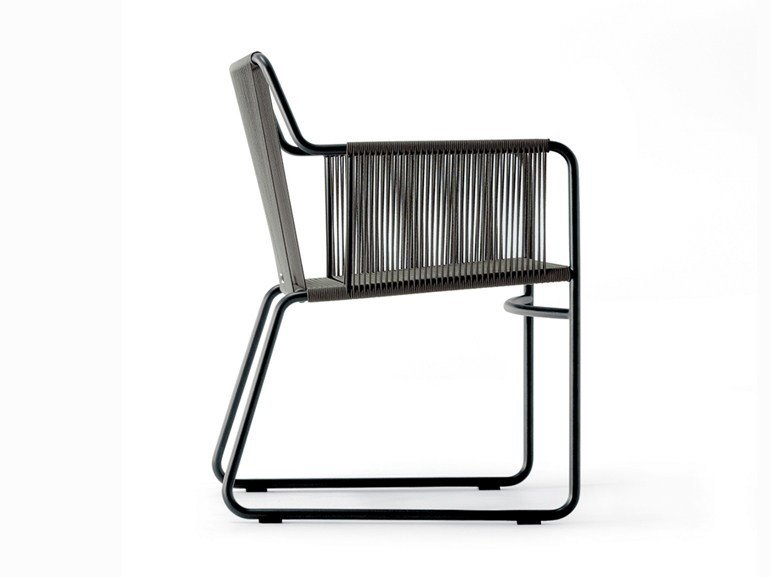 Stainless steel garden chair with armrests HARP   Chair with armrests by RODA