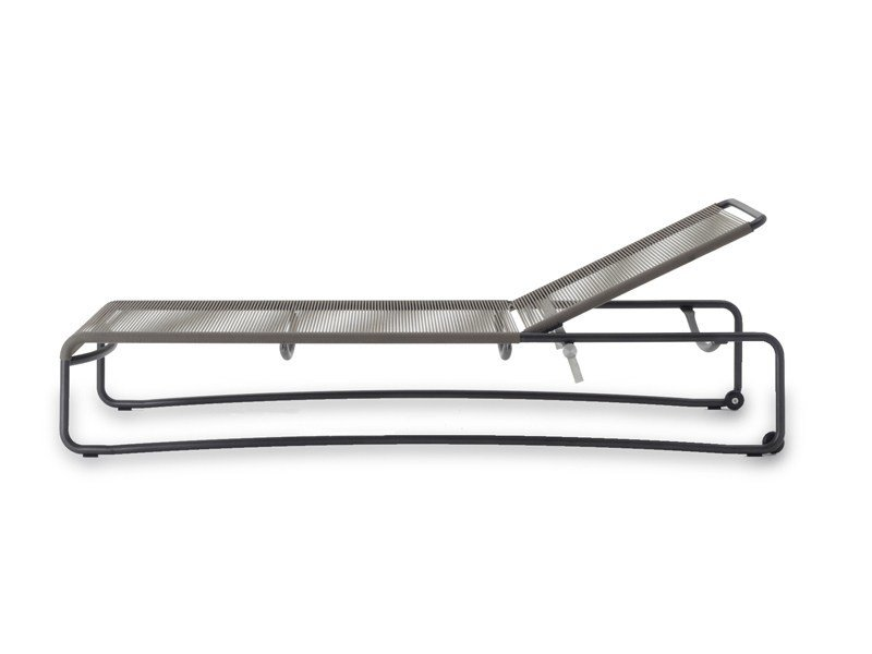 Recliner stainless steel garden daybed with Casters HARP | Garden daybed by RODA