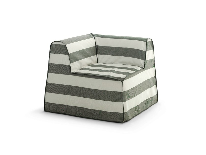 Corner garden armchair with removable cover INOUT 407 by Gervasoni