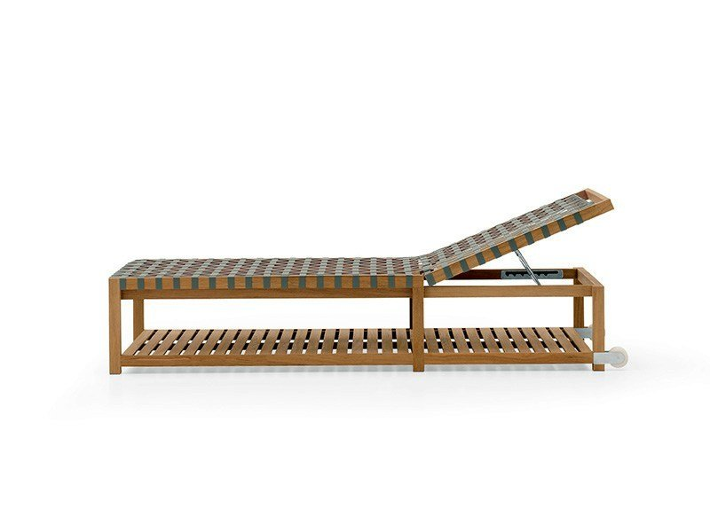 Recliner teak garden daybed with Casters NETWORK | Garden daybed by RODA