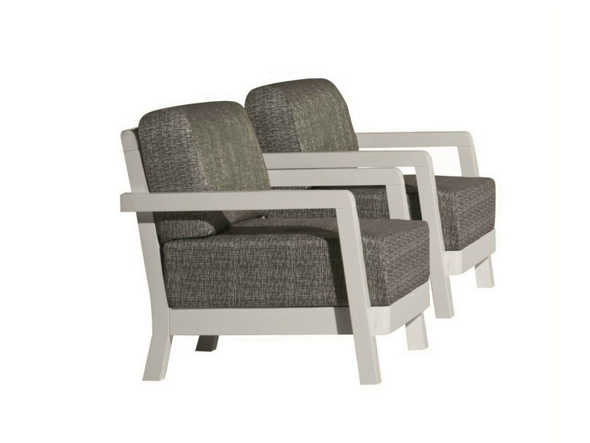 Fabric garden armchair with armrests INOUT 105 by Gervasoni
