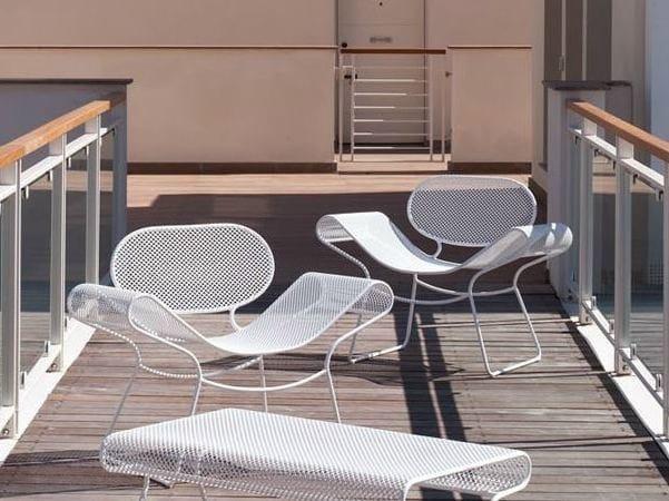 Sled base steel garden armchair SWELL | Easy chair by Talenti