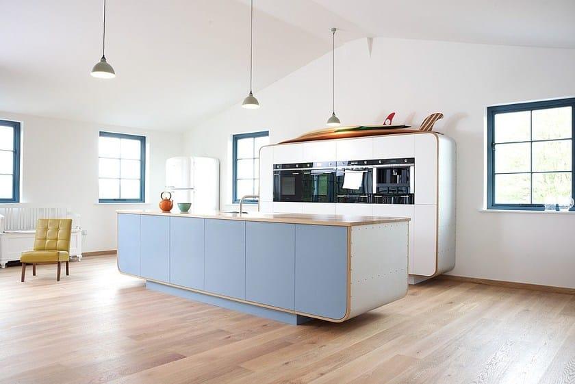 HI-MACS® per top cucina Air - deVOL kitchens - deVOL showroom, Cotes Mill, Leicestershire, Regno Unito. Fotografo: Tim Cooper - HI-MACS®