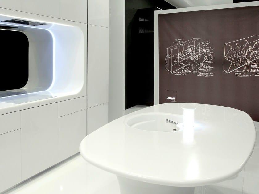 HI-MACS® per top cucina Karim Rashid for Aran Cucine – Fabrication: Dform - HI-MACS® Alpine White, Black - Photo: Valter Baldan
