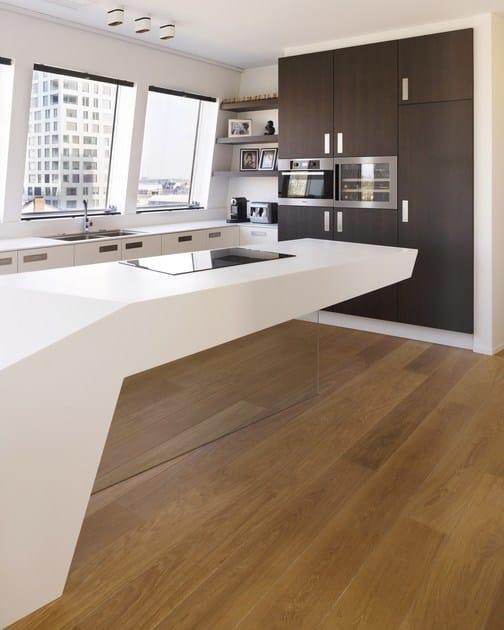 HI-MACS® per top cucina Loft, Anversa, Belgium - Joke Holvoet - Elft bvba. HI-MACS® Alpine White, Cima. Fotografo: Frederik Vercruysse