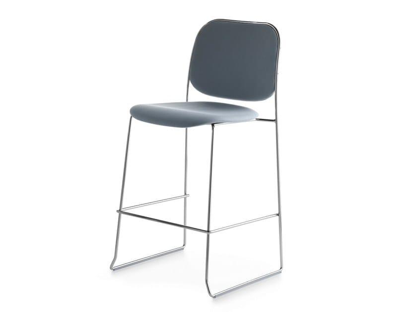 Upholstered stackable sled base stool BAY 65 by Crassevig