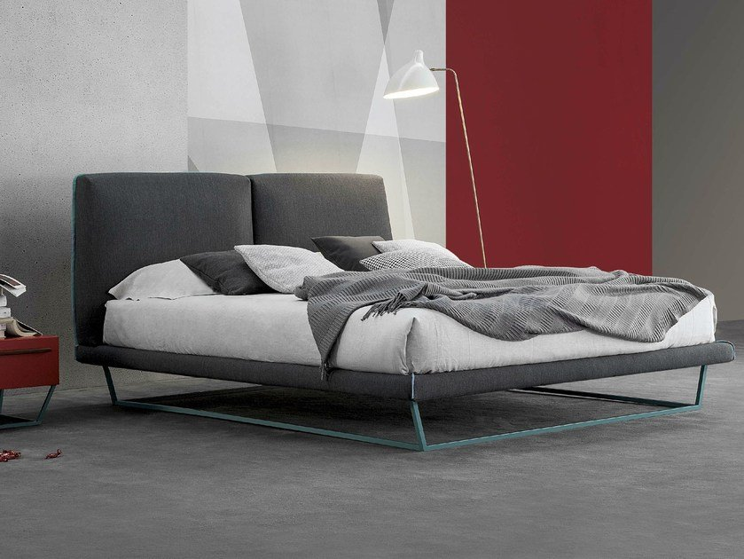 Double bed with upholstered headboard AMLET by Bonaldo