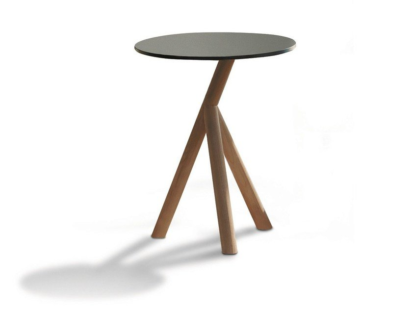 Round teak garden side table STORK by RODA
