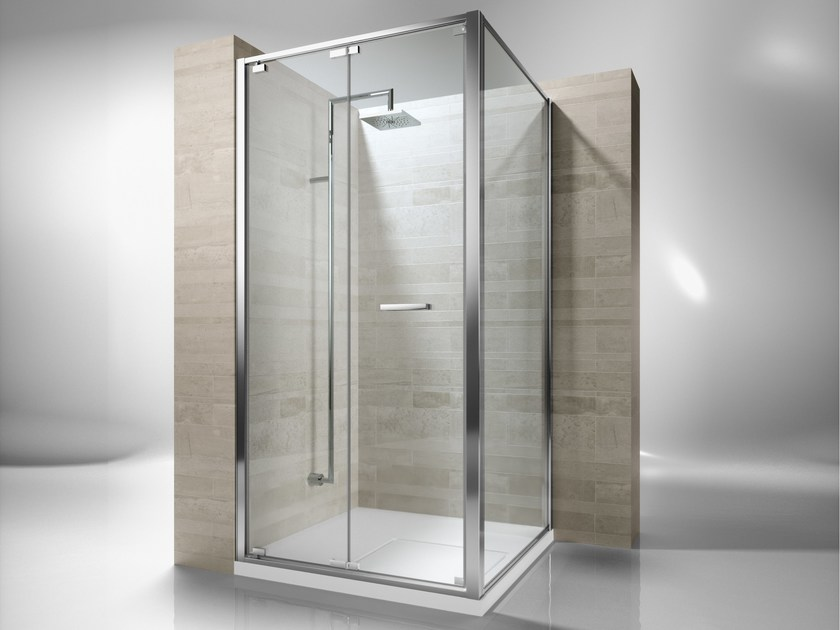 Corner custom tempered glass shower cabin JUNIOR GN+GF by VISMARAVETRO