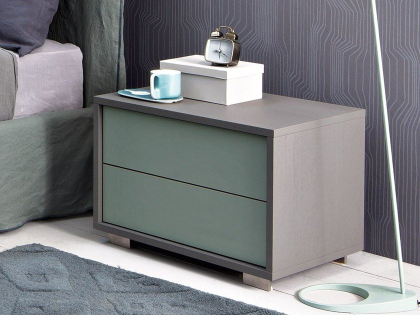 Walnut bedside table with drawers SWEET 51 by Gervasoni