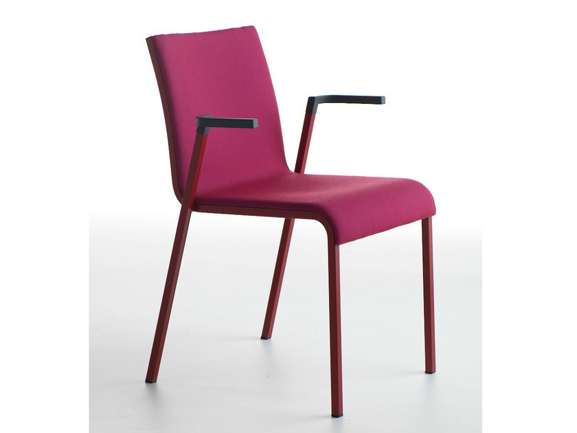 Upholstered stackable chair with armrests PERSIA P | Upholstered chair by Crassevig