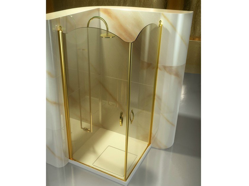 Corner tempered glass shower cabin with hinged door GOLD AP+AP By ...