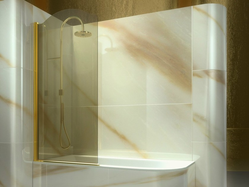 Tempered glass bathtub wall panel GOLD AV by VISMARAVETRO