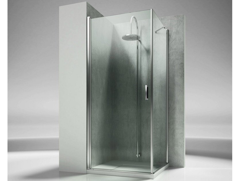 Corner custom tempered glass shower cabin LINEA LA+LF by VISMARAVETRO