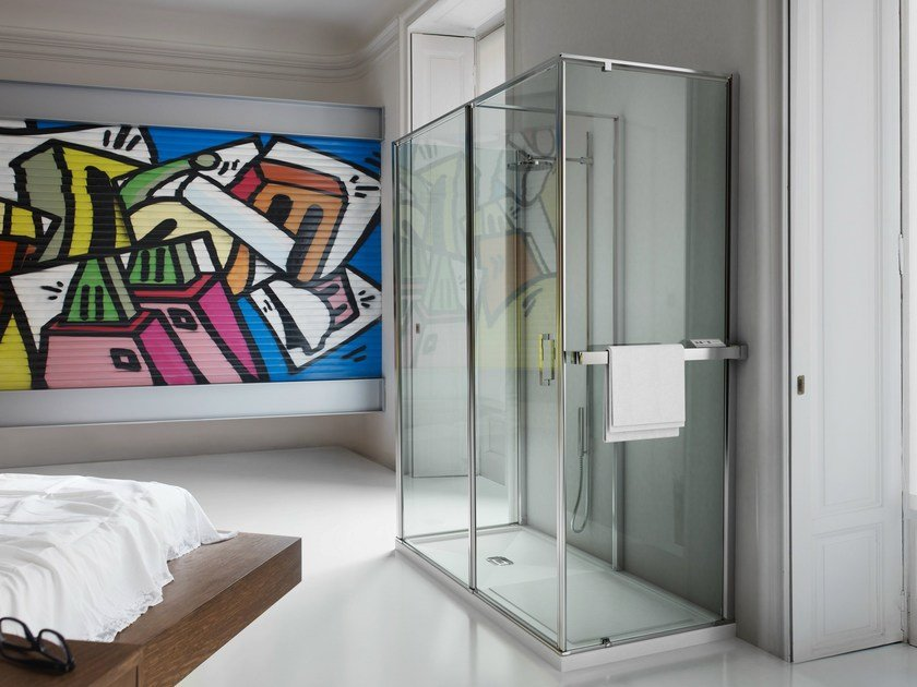 Pareti Per Doccia In Vetro : Parete radiante per box doccia in vetro temperato parete radiante