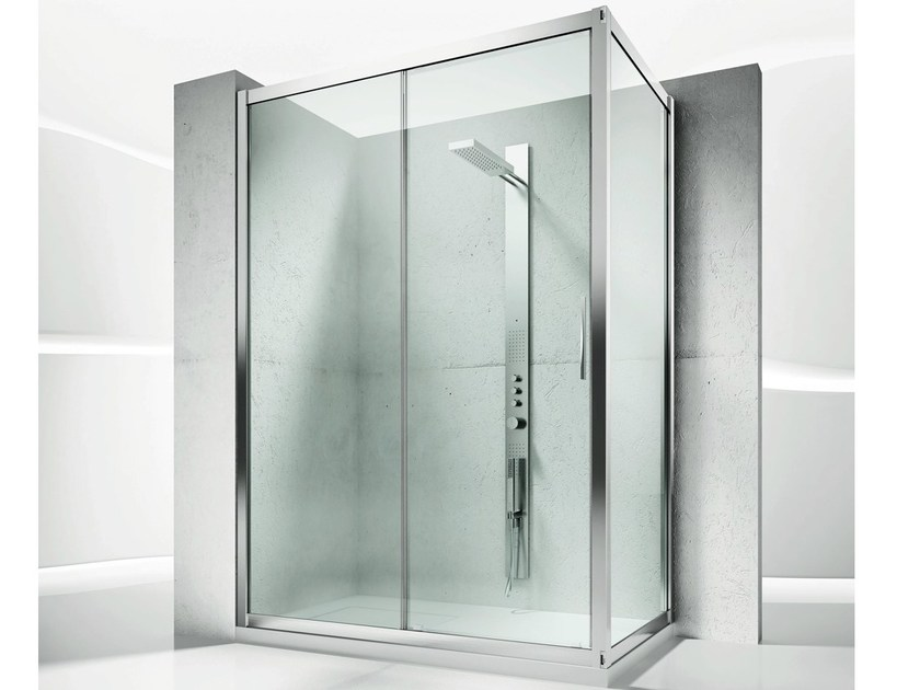 Corner custom crystal shower cabin with sliding door SERIE 6000: 6100+6300 by VISMARAVETRO