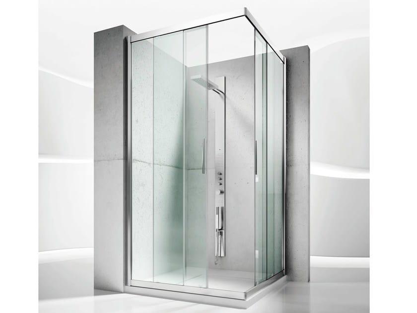 Corner custom crystal shower cabin with sliding door SERIE 6000: 6200 by VISMARAVETRO