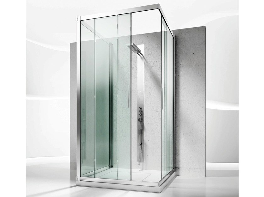 Custom crystal shower cabin with sliding door SERIE 6000: 6200+6300 by VISMARAVETRO