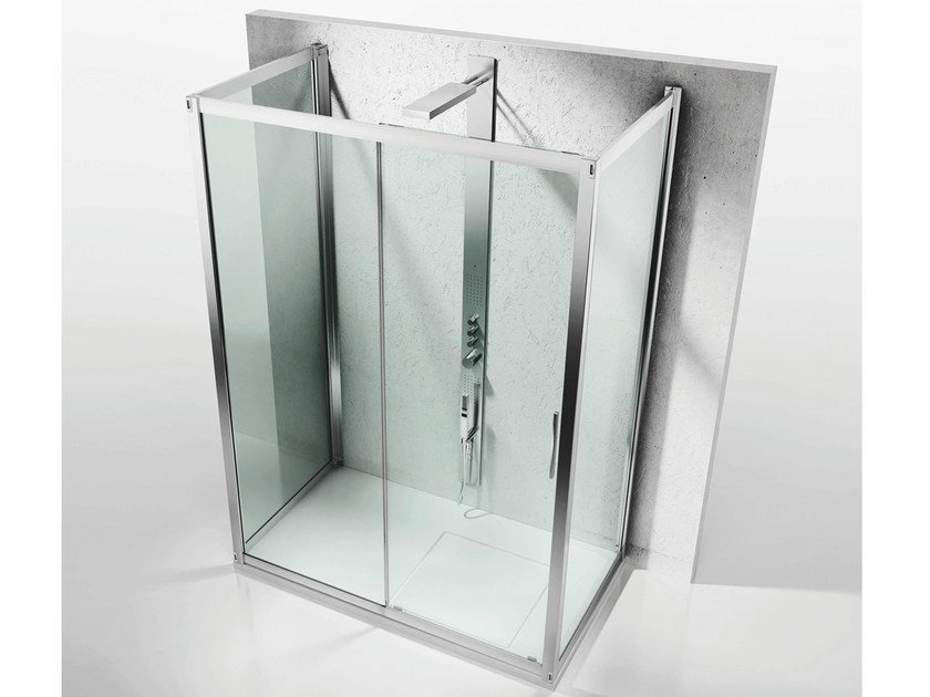 Custom crystal shower cabin with sliding door SERIE 6000: 6300+6100+6300 by VISMARAVETRO