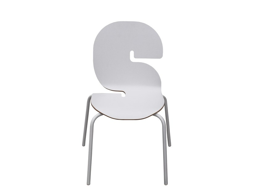 Stackable Formica© kids chair TYPOGRAPHIA KIDS S by TABISSO