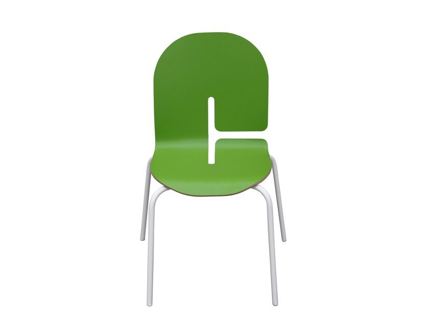 Stackable lacquered kids chair TYPOGRAPHIA KIDS C by TABISSO
