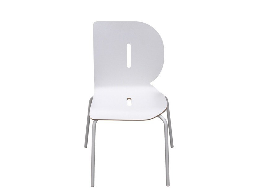 Stackable lacquered kids chair TYPOGRAPHIA KIDS B by TABISSO
