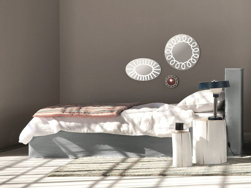Single bed with upholstered headboard BRICK 80   Single bed by Gervasoni