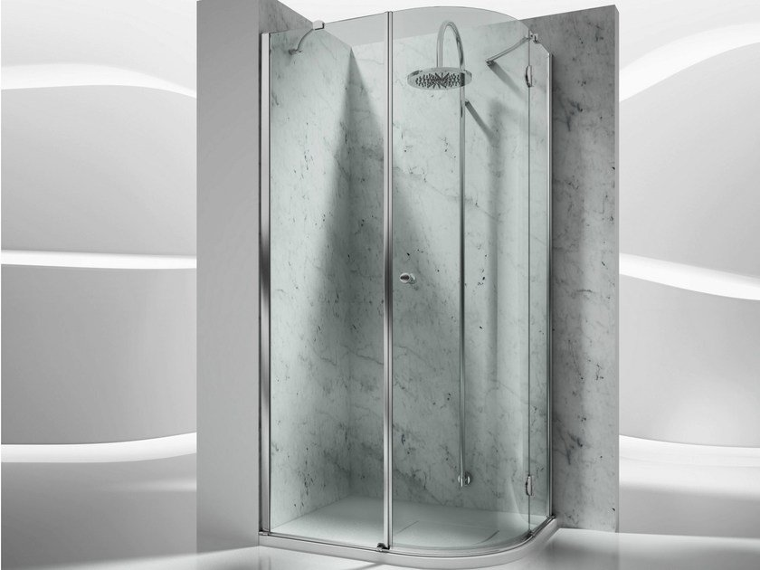 Corner semicircular custom tempered glass shower cabin SINTESI SD by VISMARAVETRO