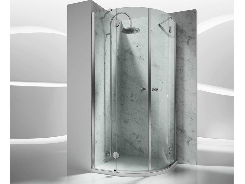 Corner semicircular custom tempered glass shower cabin SINTESI ST by VISMARAVETRO