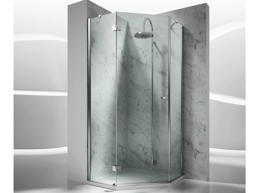 Corner custom tempered glass shower cabin SINTESI TRS by VISMARAVETRO