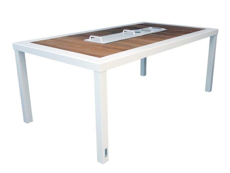 Rectangular aluminium and wood garden table BRAZILIA | Rectangular table by Sérénité Luxury Monaco