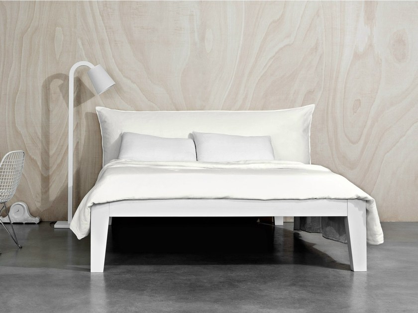 Wooden bed with upholstered headboard SOFT by Letti&Co.