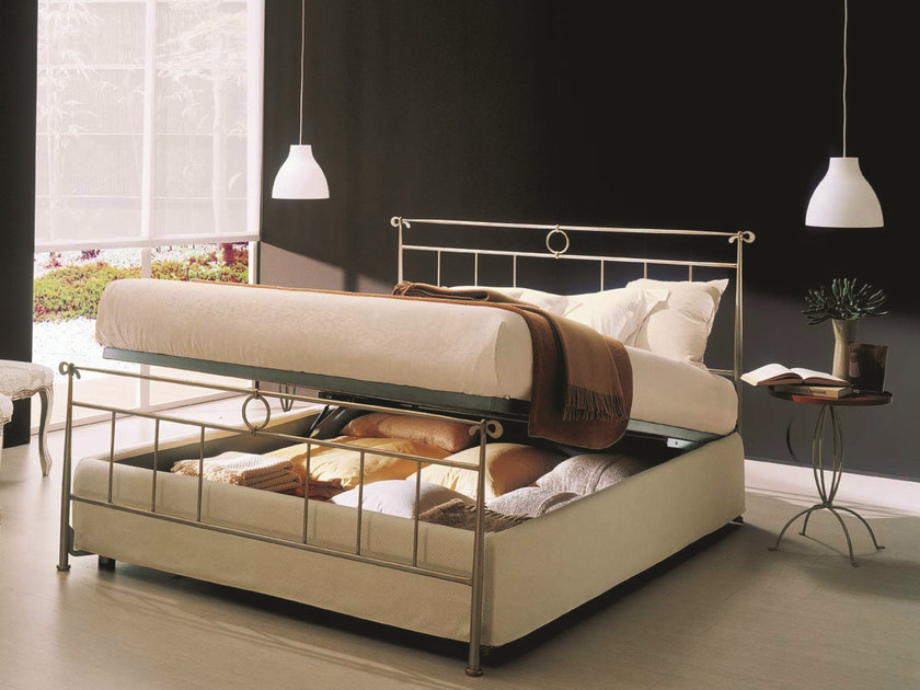 Iron double bed DYLAN | Storage bed by Bontempi