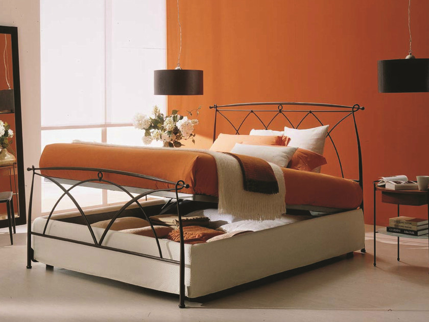 Iron double bed MANON | Storage bed by Bontempi