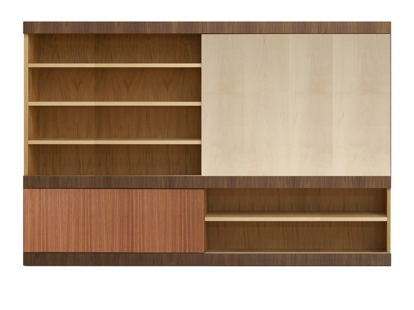 Sectional wooden TV wall system MASCHERA | TV wall system by Morelato