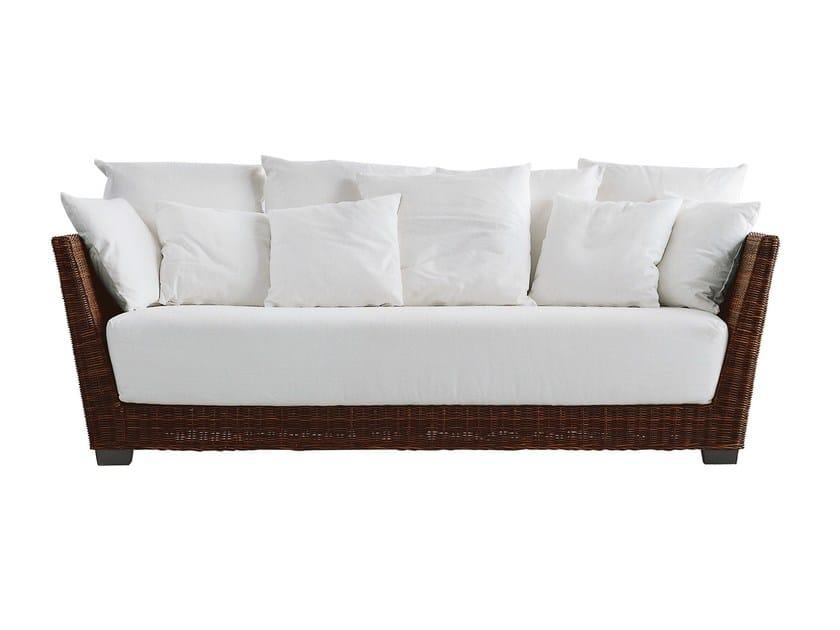 3 seater sofa in handwoven black pulut BLACK 03 by Gervasoni