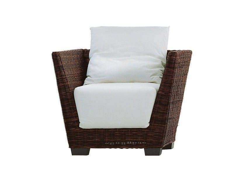 Garden armchair with armrests in handwoven black pulut BLACK 05 by Gervasoni