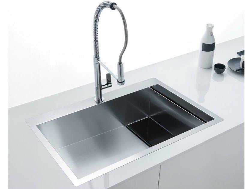 Vasca Da Cucina In Acciaio : Lavello a una vasca filo top in acciaio inox e cristallo clv 210