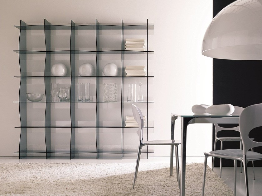 Wall-mounted methacrylate bookcase WAVE by Bontempi