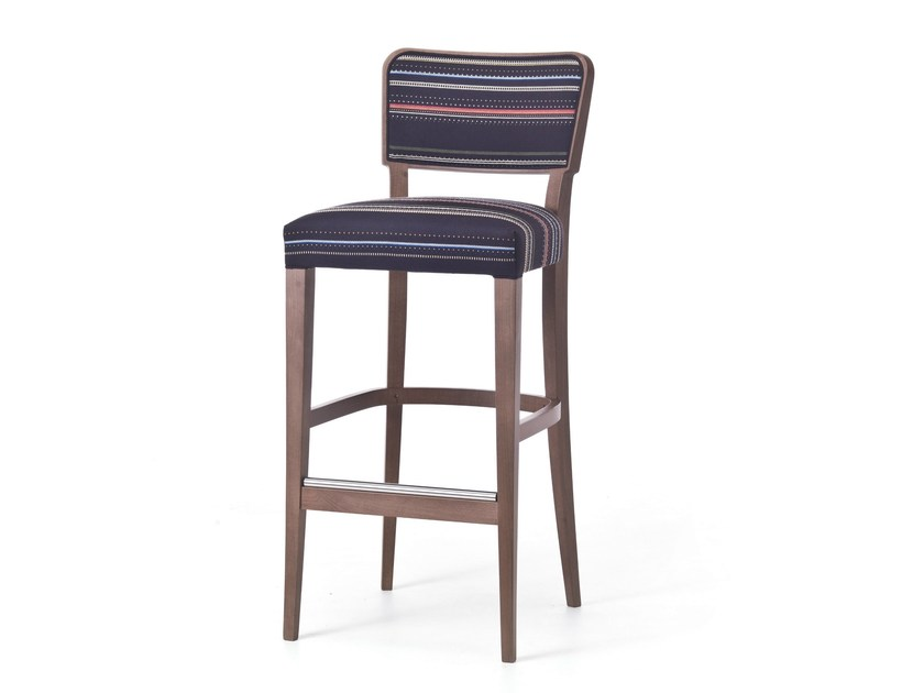 High fabric stool with back WIENER 06 by Very Wood