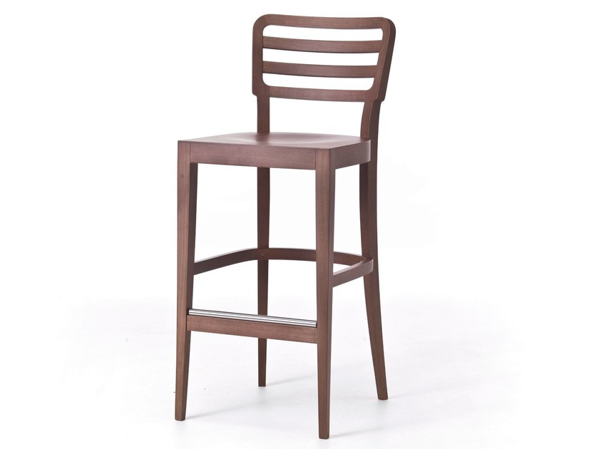 High wooden stool with footrest WIENER 16 L by Very Wood