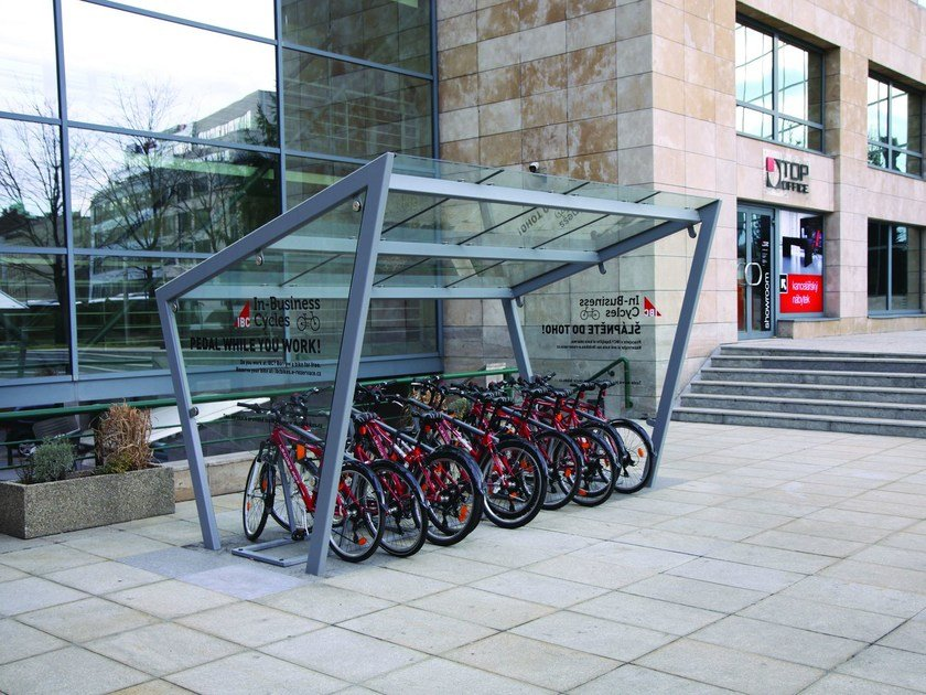 Glass and steel porch for Bicycles EDGE by mmcité1