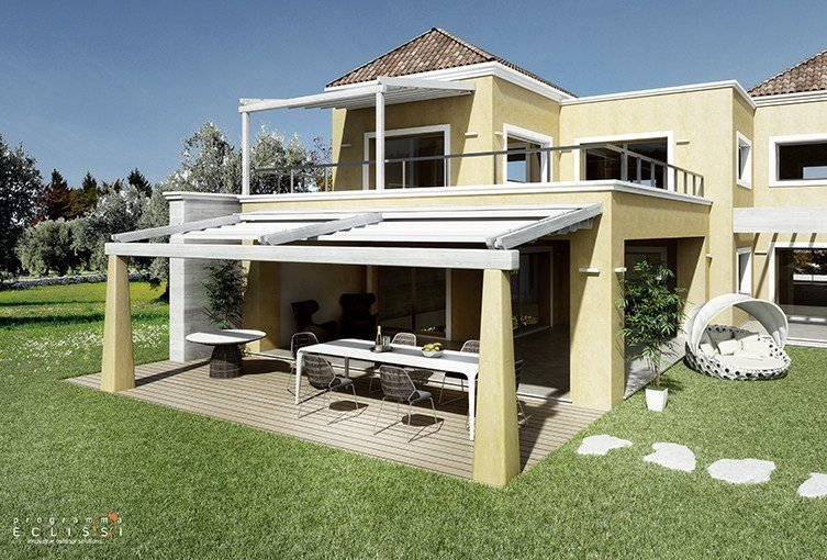 Sliding awning with guide system TENDAL by DIRELLO