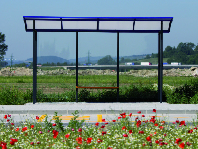 Glass and steel porch for bus stop SKANDUM by mmcité1