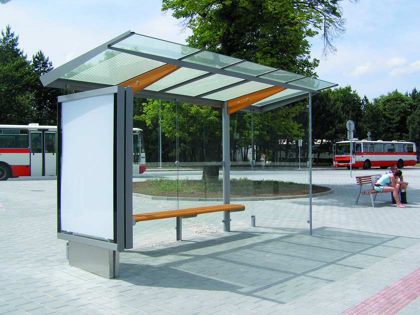 Glass and steel porch for bus stop REGIO | Porch by mmcité1