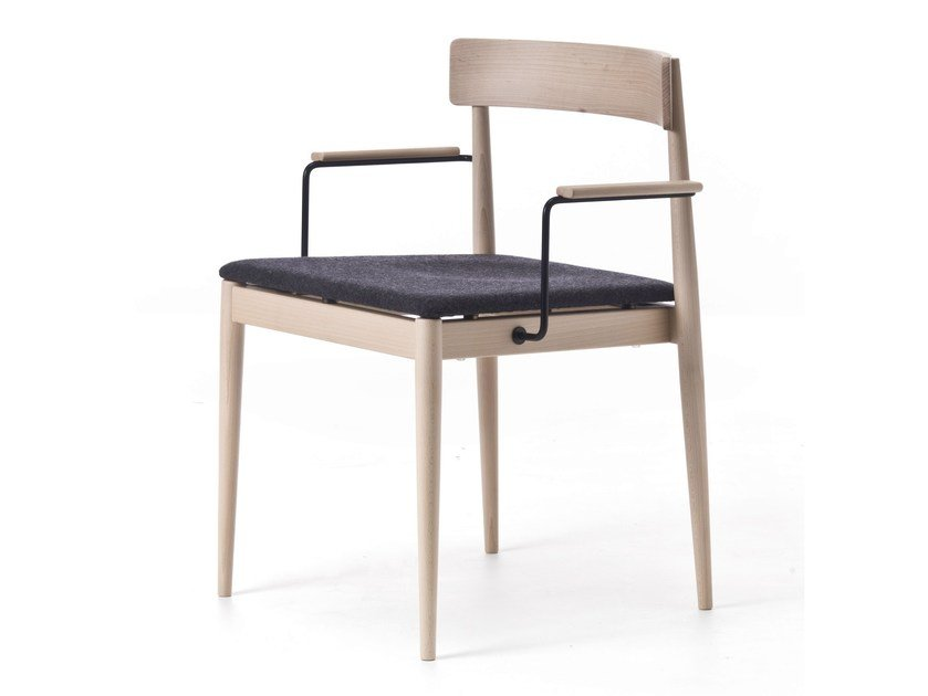 Wooden chair with armrests BLANC 02 by Very Wood
