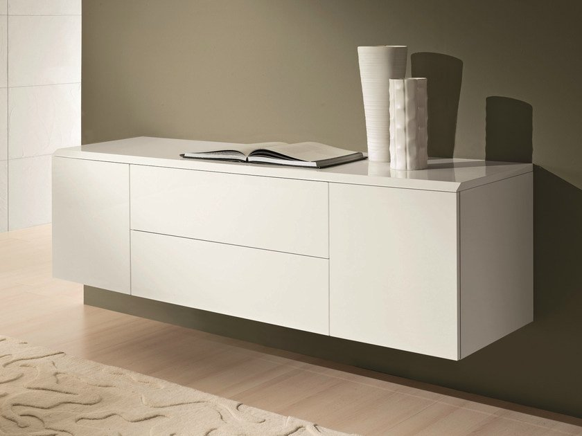 Lacquered sideboard with doors ALY WOOD | Suspended sideboard by Bontempi